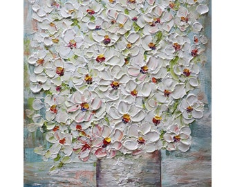 Spring Flowers Bouquet Wildflowers Beach Stone Colors Vase White Cream Gray Impasto Painting Ready to Ship, ready to hang