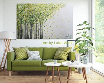 Spring Green BIRCH TREES on White 60x36 canvas Impasto Large Original Painting  Ready to Hang