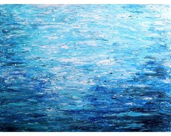 WATER Reflections OCEAN Deep Coastal Abstract Beach Painting Original Oil Impasto Textured Canvas Blue White Minimalism Art Luiza Vizoli