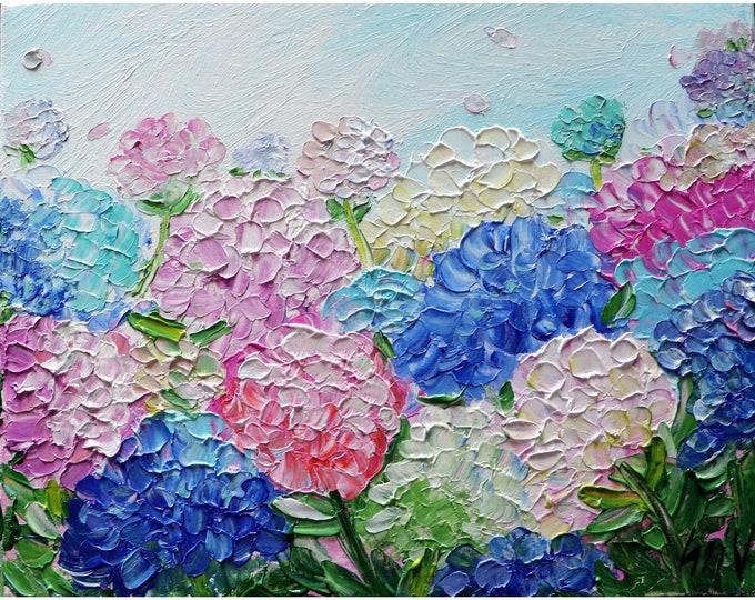 Pink White Purple Blue Hydrangeas Original Oil Painting Flowers Landscape Summer Floral Art by Luiza Vizoli
