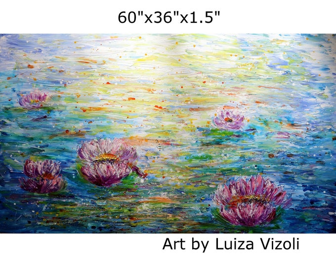 Abstract Water Lilies Conversation with Monet Extra LARGE Painting Original Textured Art 60x36, 48x30