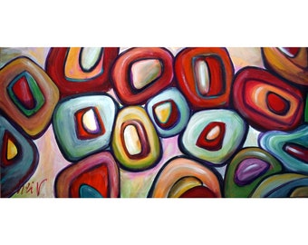 Original Circles Abstract Inspired by  Kandinsky Modern Contemporary geometric forms shapes Painting by Luiza Vizoli