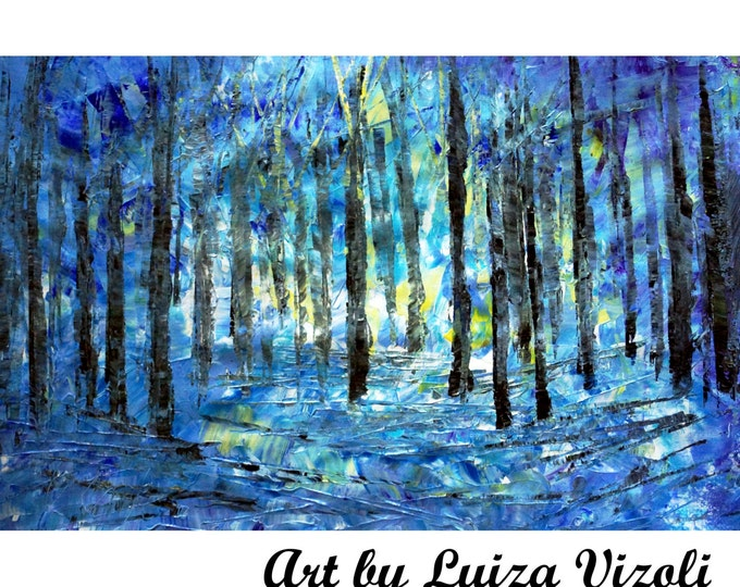 BLUE FOREST Light Acrylic Original Abstract Painting Palette Knife  Trees Landscape Artwork by Luiza Vizoli