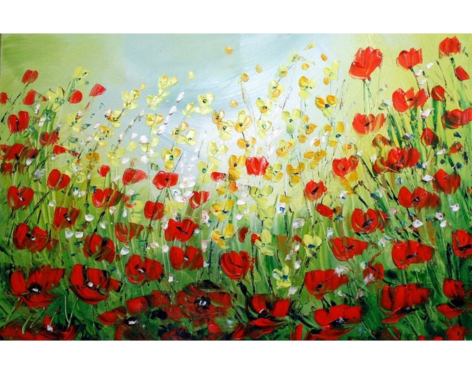 WILDFLOWERS  Original Modern Abstract Floral Landscape Palette Knife Impasto Oil Painting by Luiza Vizoli