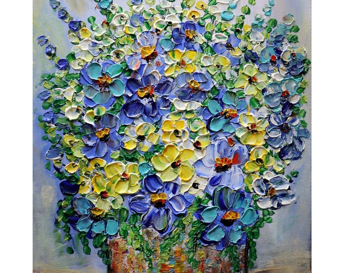 COUNTRY Flowers BLUE BOUQUET Forget Me Not Yellow Lavender Purple Wildflowers Rustic Vase Impasto Painting Ready to Ship, ready to hang