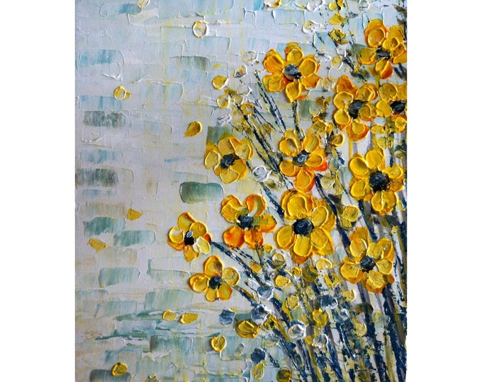 YELLOW FLOWERS White Gray Aqua Original Painting on Canvas Art for Office, Business or any living space