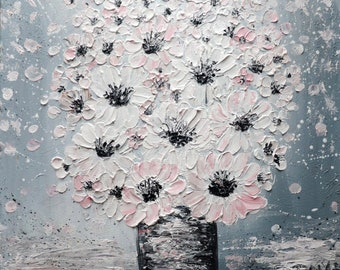 Blush Anemones White Pink Bouquet on Gray ORIGINAL Painting Oil Impasto on Canvas ready to hang, ready to ship