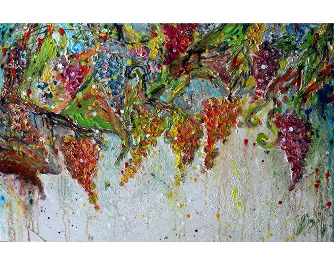 Vineyard Grapevines Original Impasto Oil Painting Grape Harvest Tuscany Italy  Colorful Art by Luiza Vizoli Large Canvas ready to hang