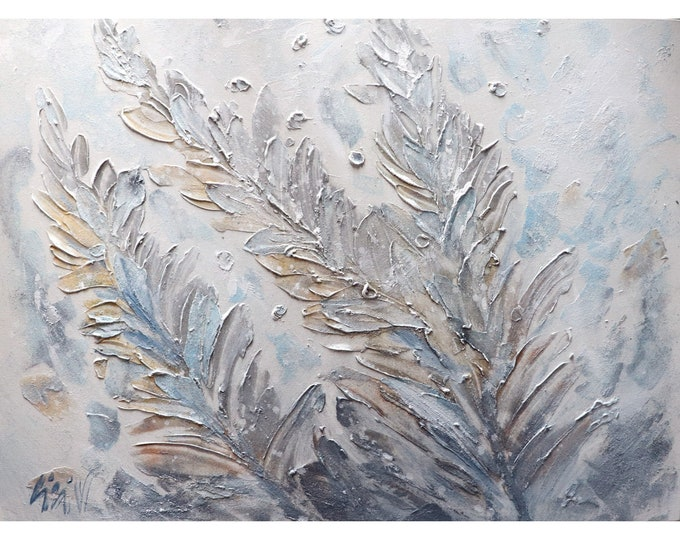White Gray Blue Gold Silver LEAVES Textured Original Painting on Large Canvas Art by Luiza Vizoli 40x30