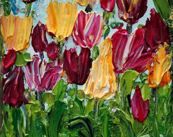 Original Oil Painting Tulips Spring Flowers Impasto Art SMALL CANVAS CUSTOM