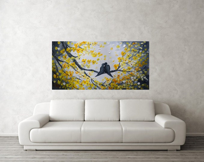 Kiss Me Large Painting Original Oil Canvas in Shades of White Yellow Gray Art by Luiza Vizoli