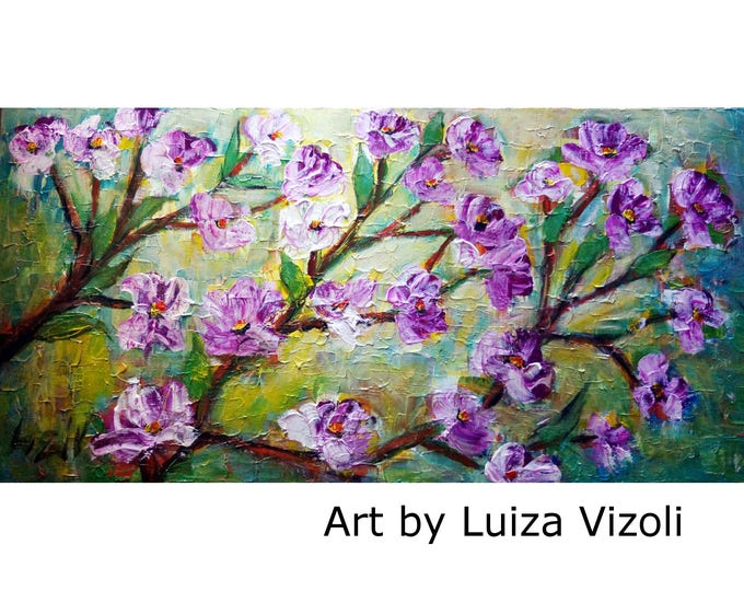 MAGNOLIA Purple Flowers Oil Painting Large Canvas Impasto Textured Large Artwork by Luiza Vizoli 48x24