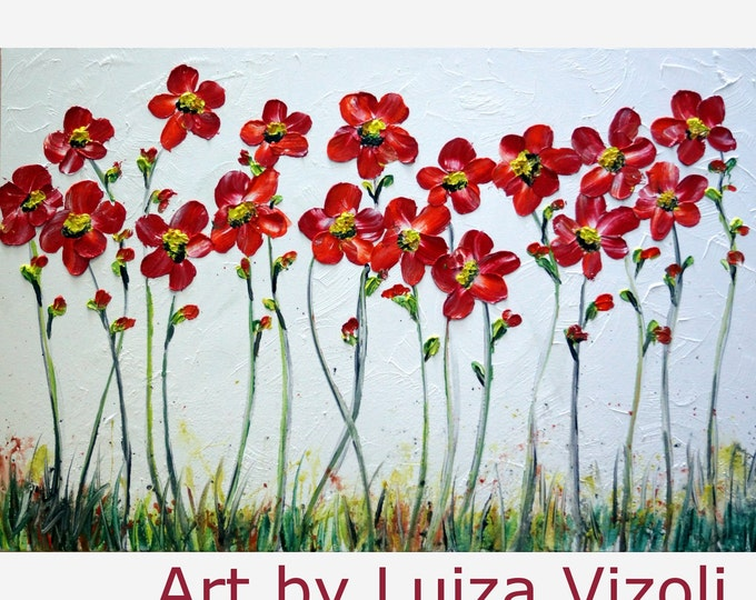 Red White Abstract Large Painting Original Oil on Canvas DAISY Flowers by Luiza Vizoli painting