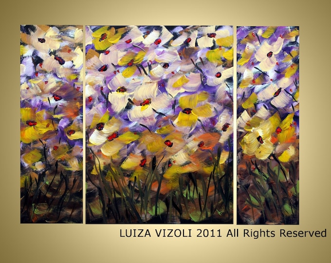 FRESH FLOWERS Triptych Format Art- Original Abstract Modern Floral Oil Paintings by Luiza Vizoli-Custom-Made to Order