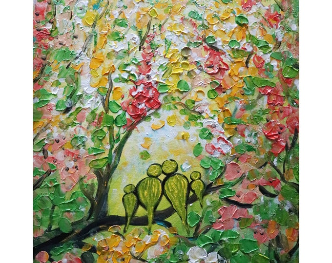 Birds Colorful Painting Happy Family Trees in Bloom Flowers Landscape Original Art