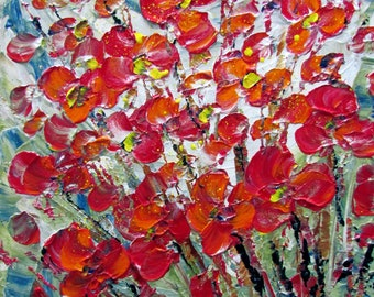 Original Modern Impressionist Impasto Oil Flowers Painting RED ORANGE BOUQUET 8x8, 10x10 Custom