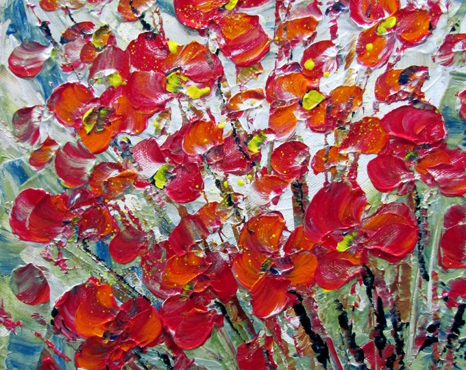 Original Modern Impressionist Impasto Oil Flowers Painting RED ORANGE BOUQUET 8x8, 10x10 Custom