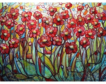 Hidden Treasure LOOKING Through the Stained Glass Mediterranean Red Flowers Garden Original Painting on Large Canvas