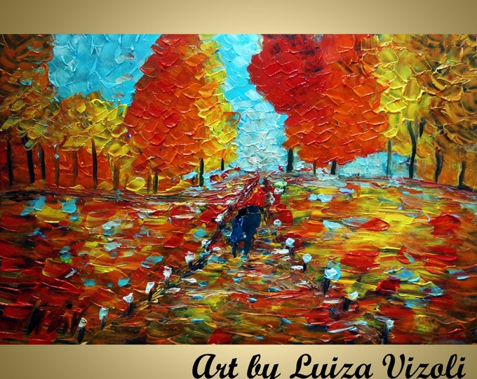 RAIN ROMANCE FALL Original Oil Painting Fall Landscape Autumn Trees Large painting by Luiza Vizoli