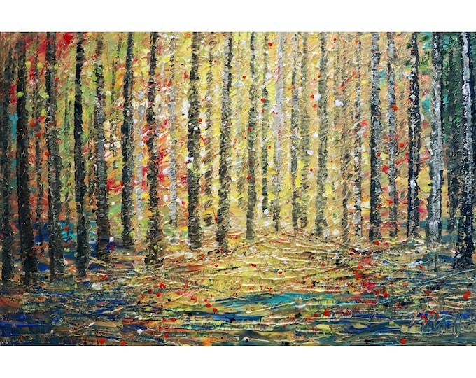 Spring Forest Sunset Landscape Original Painting Impasto Textured Art Handmade