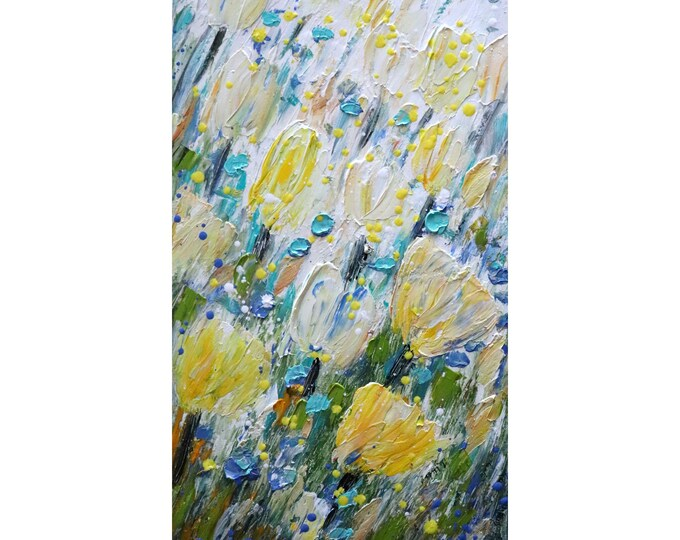Colorful Yellow Cream White Tulips Spring Blue Flowers Original Oil Painting Tall Vertical Canvas Art by Luiza Vizoli ready to ship