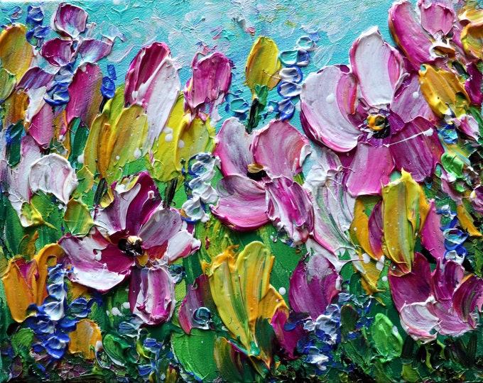 Spring Tulip Petunias Flowers Original Oil Painting Small Canvas ready to Ship