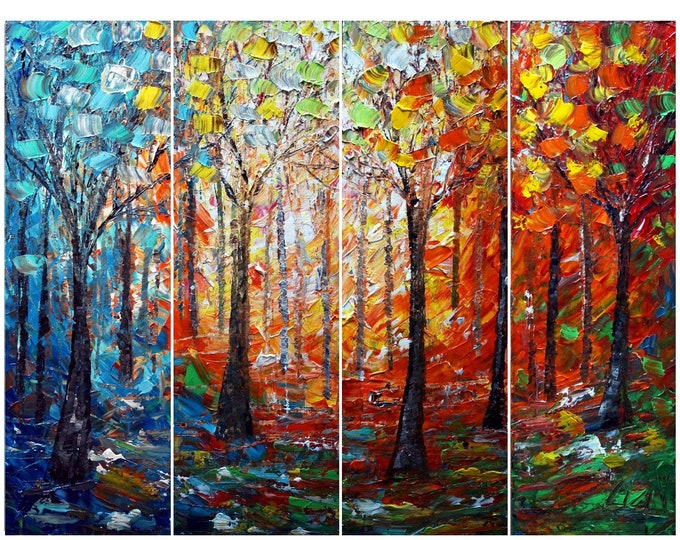 TREES and SEASONS Original Painting Ready to Hang 48x36 Impasto Oil