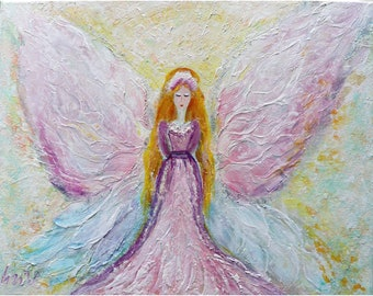 Soft Angel Whispers Delicate pastel colors , Impasto Oil on Canvas Original Painting Abstract Girl