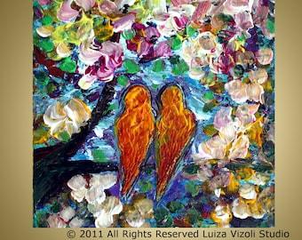 ORANGE LOVEBIRDS Original Impasto Oil Artwork -flowers,trees,landscape textured painting