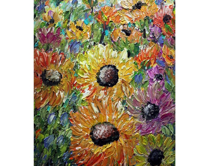 SUNFLOWERS Summer Field Original Flowers Painting  Modern Palette Knife Floral Canvas by Luiza Vizoli