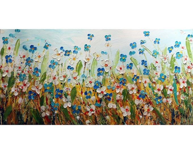 Forget Me Not DAISIES WILDFLOWERS Large ORIGINAL Painting Lost in the Flowers Field Living Room Art Original Handmade