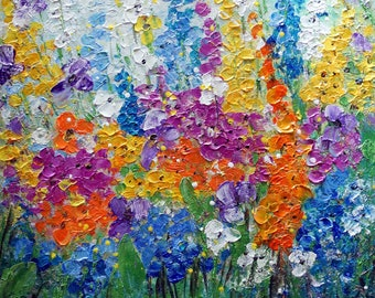 Abundance of Blooming Wild Flowers on the Meadow at Summertime Original Oil Painting on Canvas Colorful Floral Art