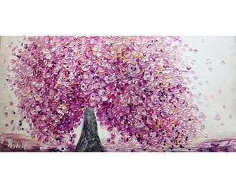 RESERVED Item for DANIELA Pink Cherry Blossom Original Painting Impasto Beautiful Unique Pollock Style Ready to Ship Large Canvas 48x24
