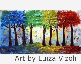 ORIGINAL HUGE Canvas 72x40  Abstract Oil Painting SEASONS Trees large canvas Ready to Ship Art by Luiza