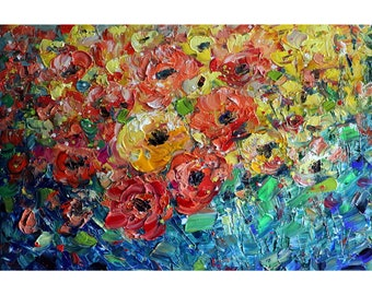 ROSES FLOWER GARDEN Orange Yellow White Cream Red Green Colors Oil Original Painting