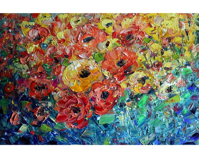 ROSES FLOWER GARDEN Orange Yellow White Cream Red Green Colors Oil Original Painting