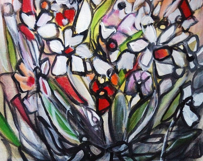 Whimsy Flowers The Secret Garden Colorful Original Painting Ready to Ship Art by Luiza Vizoli