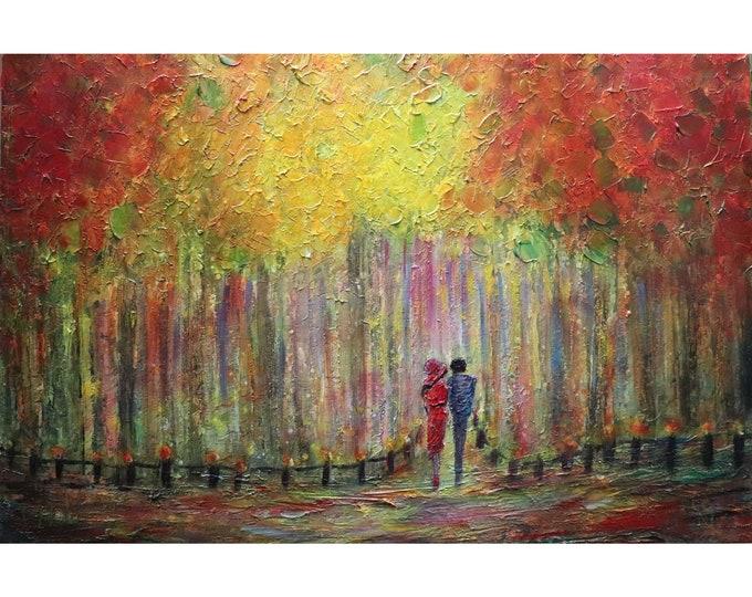 Fall Park ROMANTIC Vienna Original Oil Painting Art Romance Modern Impressionist