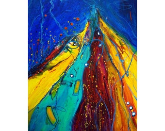 Extra Large Bold Beautiful Unique Original Art for Office, The WINNER Fish Story Abstract Modern Painting, handmade oil on canvas 60*36