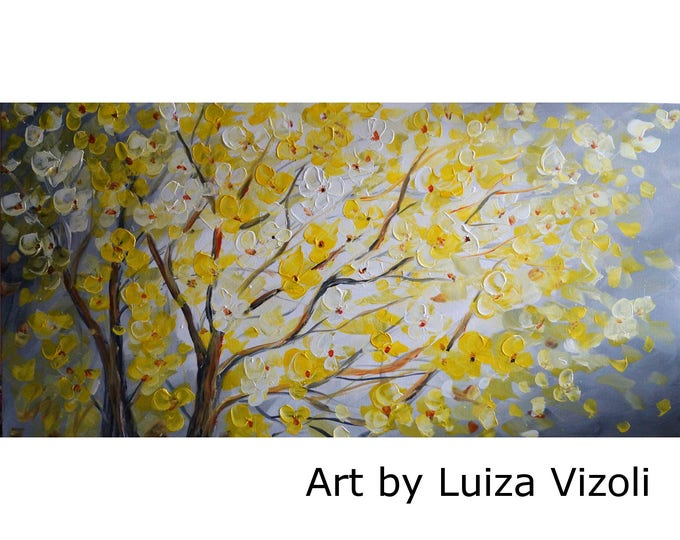 Original Painting Yellow Gray Blossom Tree Landscape Art by Luiza Vizoli MADE to ORDER