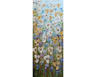 Forget me Not Wildflowers Prairie Flowers Tall vertical wall art ORIGINAL Painting Narrow Canvas for staircase, bathroom, kitchen, entryway