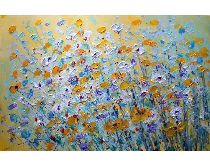 SPRING FLORAL Original Painting Flowers Abstract Oil Canvas Pollock Style Floral Artwork by Luiza Vizoli
