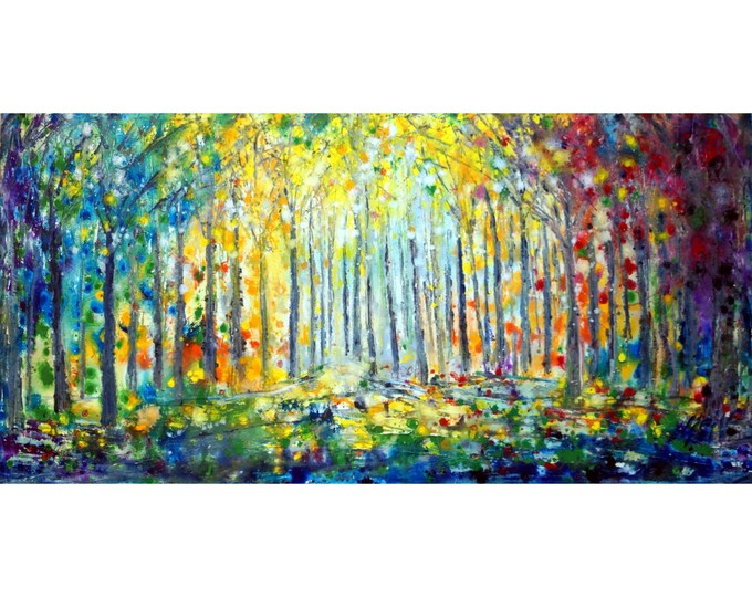 FOREST LIGHTS Summer Fall Spring Winter Trees Painting Original Painting Oil Large Canvas by Luiza Vizoli 48x24