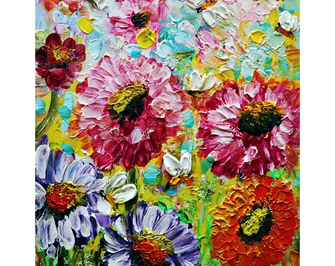 Summer Flowers Bees and Butterflies Impasto Oil Painting on Canvas