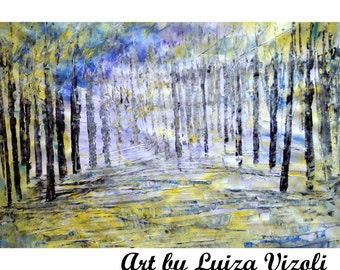LIGHT Painting Original CANVAS Abstract Spring Trees Landscape Palette Impasto Oil Painting MORNING by Luiza Vizoli