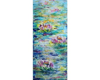 Tall vertical 52x18 Water Lilies Extra Large wall art ORIGINAL PAINTING canvas , Long Narrow wall decor staircase, bathroom, entryway