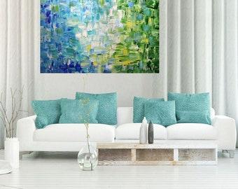 FRESH AIR Springtime Original Large Painting Oil Impasto Blue Green Aqua White Color Meditation Relaxation 48x30, 48x36, 60x36