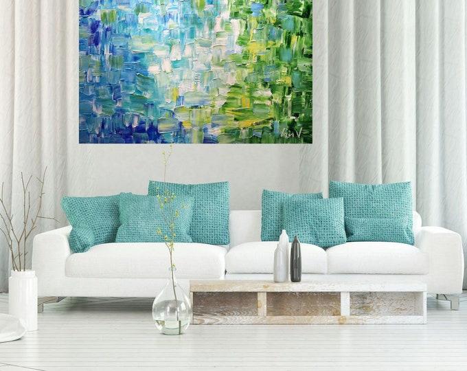 FRESH AIR Springtime Original Large Painting Oil Impasto Blue Green Aqua White Color Meditation Relaxation