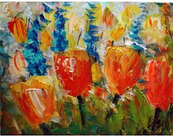 A Spring Day Yellow Orange Tulips Blue Flowers Early Blossom Oil on Canvas Art by Luiza Vizoli
