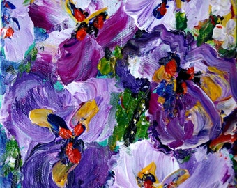 Original Oil Painting Purple Petunia Flowers Abstract Spring Floral CUSTOM Small Canvas 4x4, 6x6, 8x8